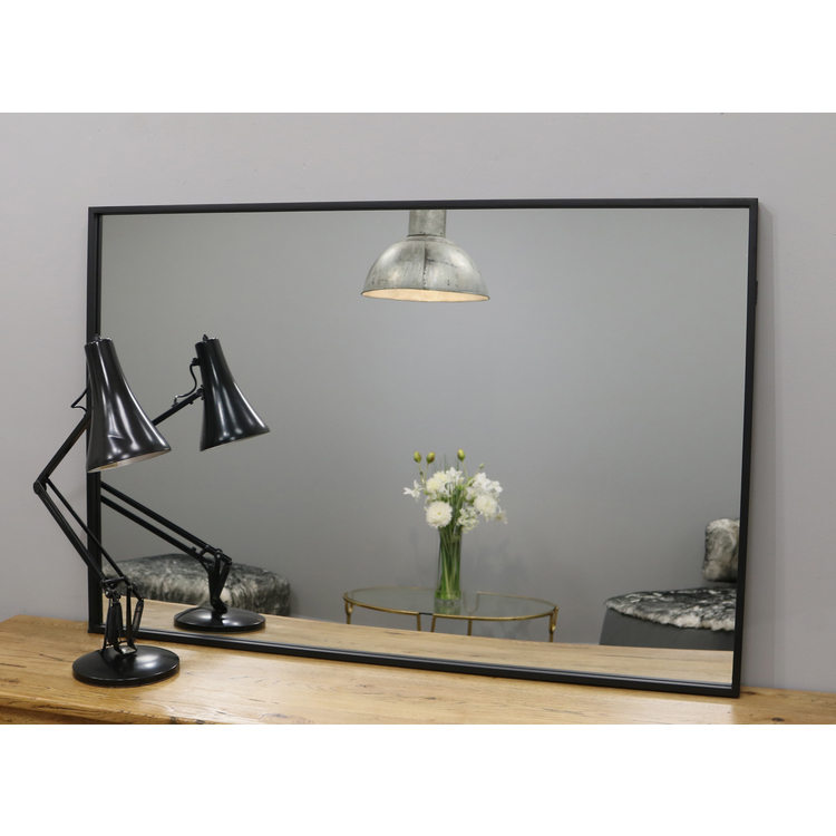"Islington - Black Industrial Contemporary Wall Mirror 48"" x 32"" (120cm x 80cm)"