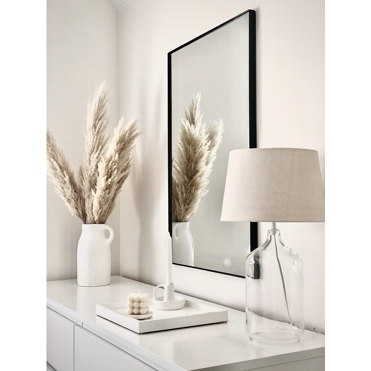 "Leonora - Aged Off-White Arched Window Mirror 56"" x 32"" (139cm x 79cm)"