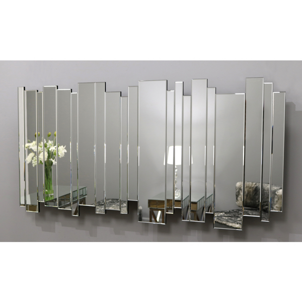 "Skyline - Contemporary Art Deco Rectangular Modern Wall Mirror 55"" x 28"" (140cm x 70cm)"