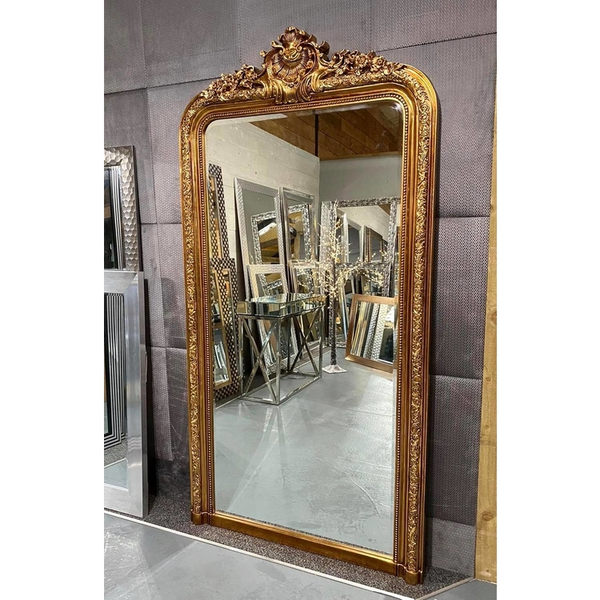 "Kensington - Antique Gold Ornate Traditional Full Length Mirror 77"" x 40"" (196cm x 100cm)"
