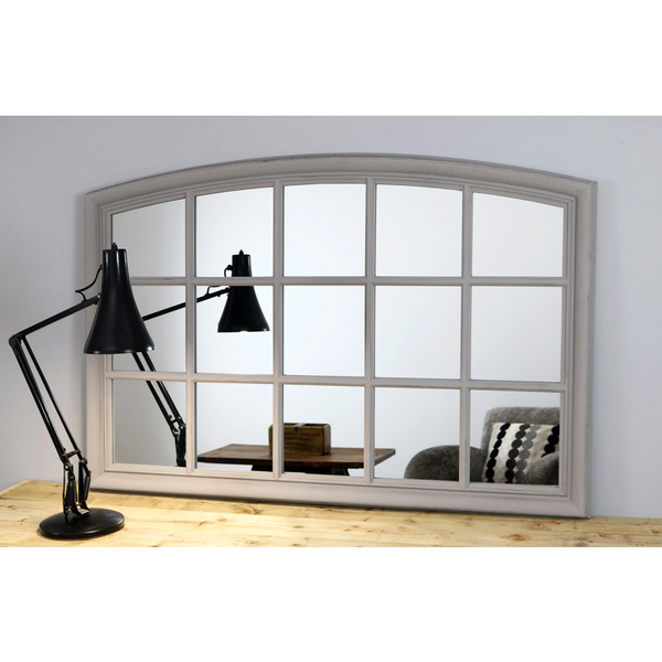 "Bollin - Grey Arched Console Window Mirror 48"" x 32"" (120cm x 80cm)"