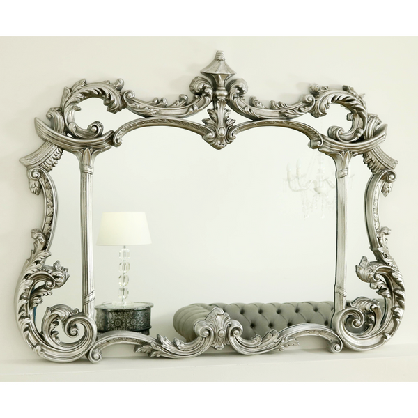 "Alberta - Silver Ornate Overmantle Mirror 51"" x 40"" (129cm x 101cm)"