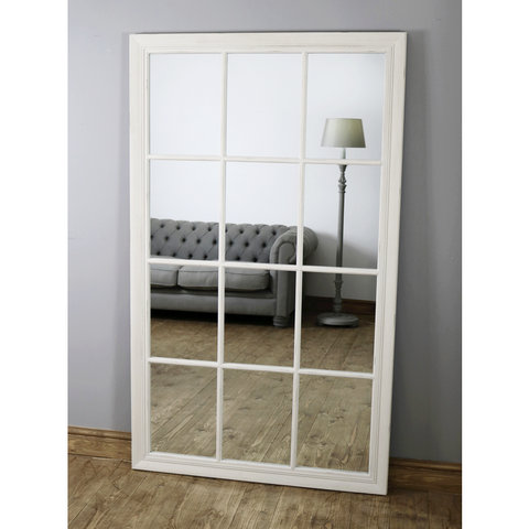 "Ella Grande - Platinum Silver Ornate Full Length Mirror 87"" x 48"" (222cm x 120cm)"