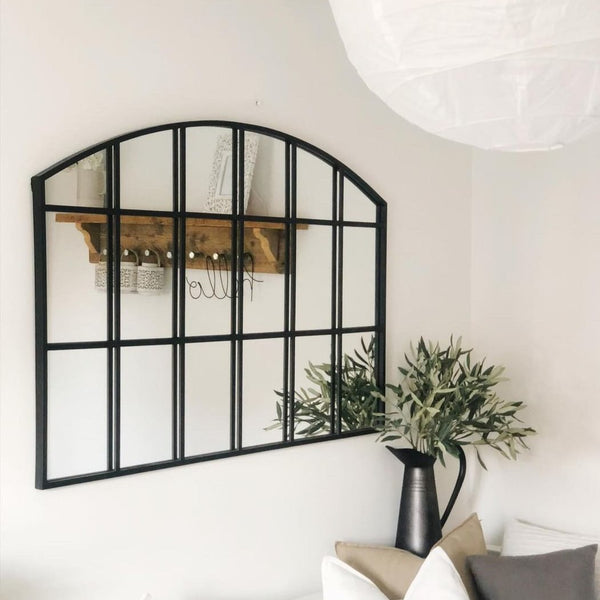 "Bridgewater - Black Industrial Arched Metal Window Mirror 48"" x 32"" (120cm x 80cm)"