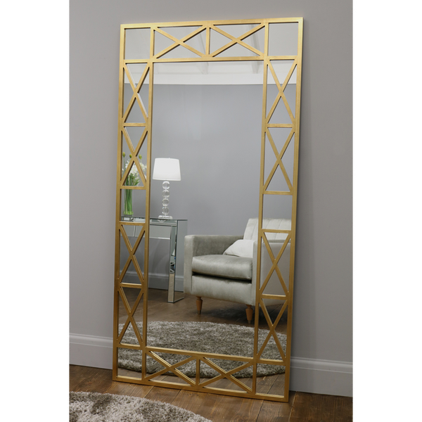 "Dijon - Gold Rectangular Full Length Window Mirror 71"" x 35.5"" (180cm x 90cm)"