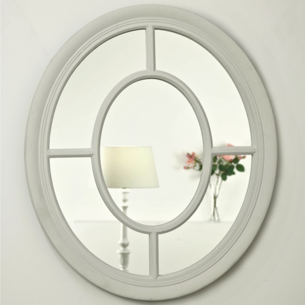 An overall view of this stylish classic mirror in a typical setting.