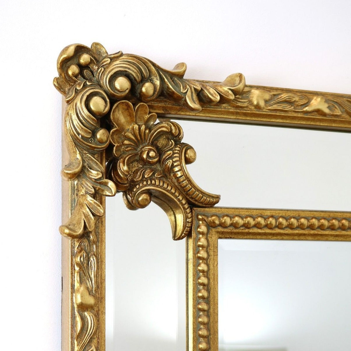 Ornate gold beaded rectangle mirror tabatha 49 x 37 for Mirror 60cm wide