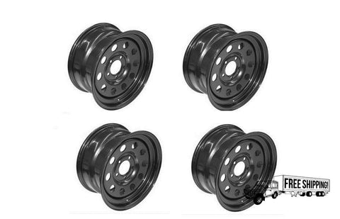 BLACK MODULAR 16 x 8 STEEL ROAD WHEEL SET x4