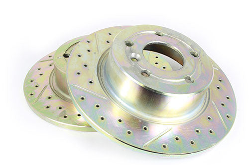 Rear Brake Disc (Cross Drilled and Grooved)