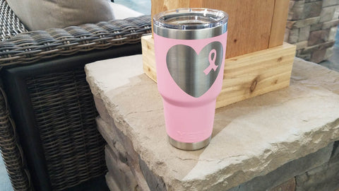 customized engraving yeti 30oz rambler cup breast cancer awareness