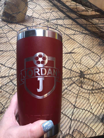 Sports Team Engraved 20oz Tumbler Brick Red