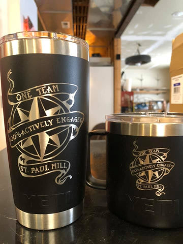 Same logo engraved on YETI mug and YETI 20oz tumbler