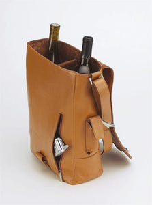 Primeware Vino 2 Two Bottle Leather Wine Carrier with Corkscrew