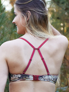 Wilderness Dreams Kings Camo Padded Bra with Cranberry Accents