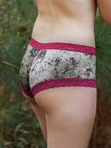 Wilderness Dreams Kings Camo Cranberry Lace Trimmed Boy Short