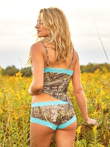 Wilderness Dreams Mossy Oak Camisole with Aqua Lace Trim
