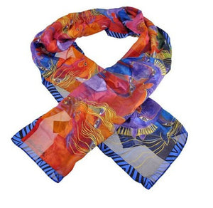 Laurel Burch Wild Horses of Fire Silk Art Scarf