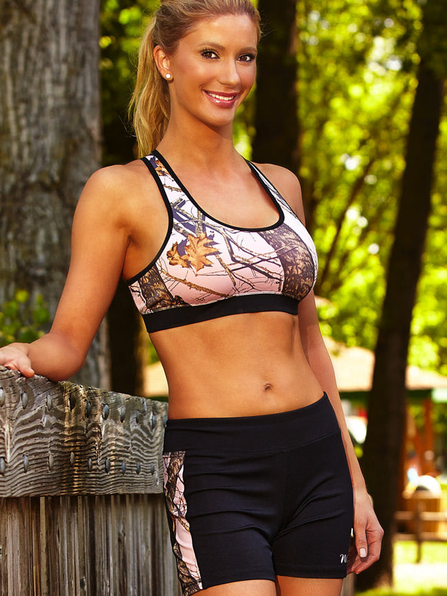 eb2d8370b8c08 Black Active Shorts with Mossy Oak Pink Break up Side Stripes – All ...