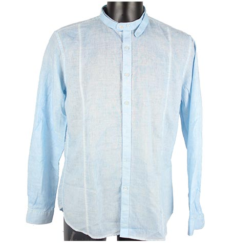 Powder Blue Granded Collor Shirt 55% Ramie , 45% Cotton 3790