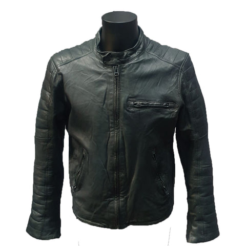Collar Less Leather Jacket