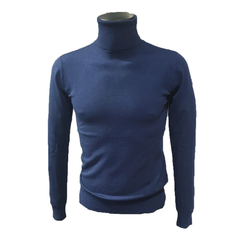 Blue Roll Neck Cashmere Feel