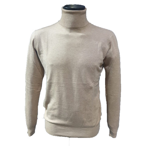 Beige Roll Neck Cashmere Feel