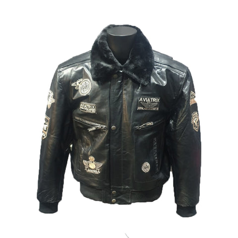 Leather Jacket with Detachable Fur Collar