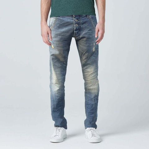 Mid Stone Wash Front Buttons Light Weight Jeans
