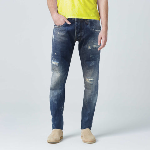 Slim Fit Stone Wash Ripped Jeans