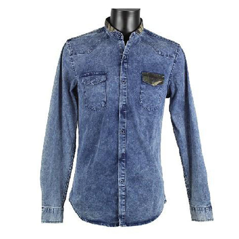 Denim Shirt With Camouflage  On Collar And Pocket 3783