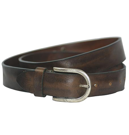 Dark Brown Real Leather Adjustable Belt - 5215