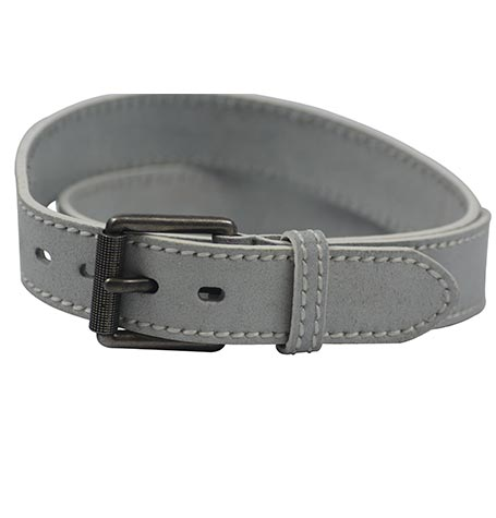 GREY LEATHER BELT MADE IN ITALY.
