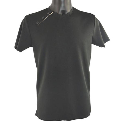 Black T-Shirt with Side Zip 5755