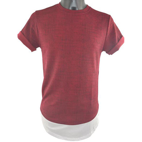 Maroon and White T-Shirt 5783