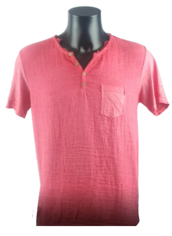 Red T-Shirt With Font Button Linen 5827 A