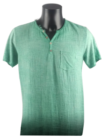 Green T-Shirt With Front Button Linen 5828 A