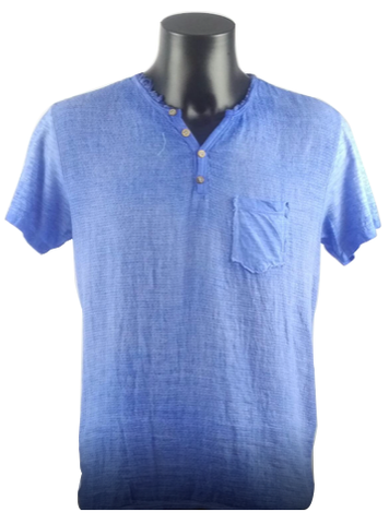 Blue T-Shirt With Front Button Linen 5829 A