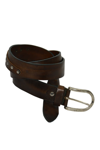Brown real Leather with studs  Belt MADE IN ITALY