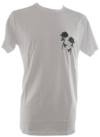White T-Shirt with One Flower 5745