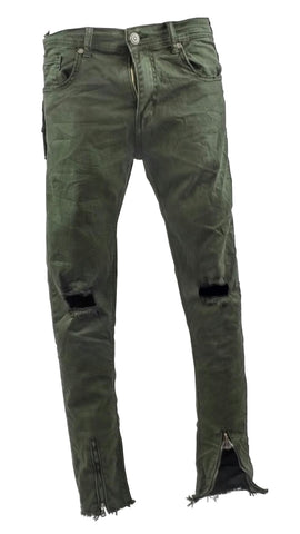 Olive Green Ripped Jeans Zips On The Ankle 2381