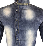 Slim Fit Denim Shirt with Cross Buttons