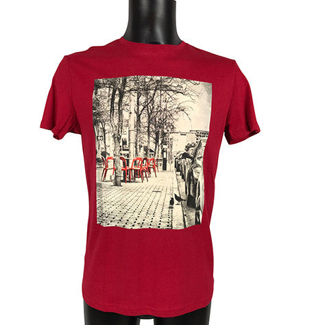 Red Short Sleeve T-Shirt with Red Chair