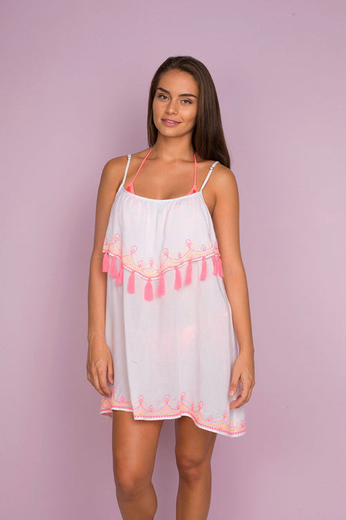 Melted Short Beach Dress with Tasells and Embroidery