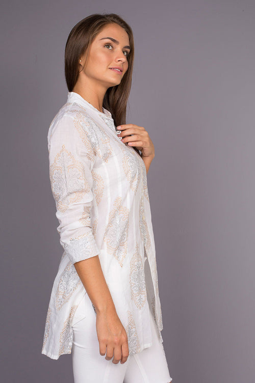 Neru Soft Cotton White Tunic with Hand Made Block Print Fabric