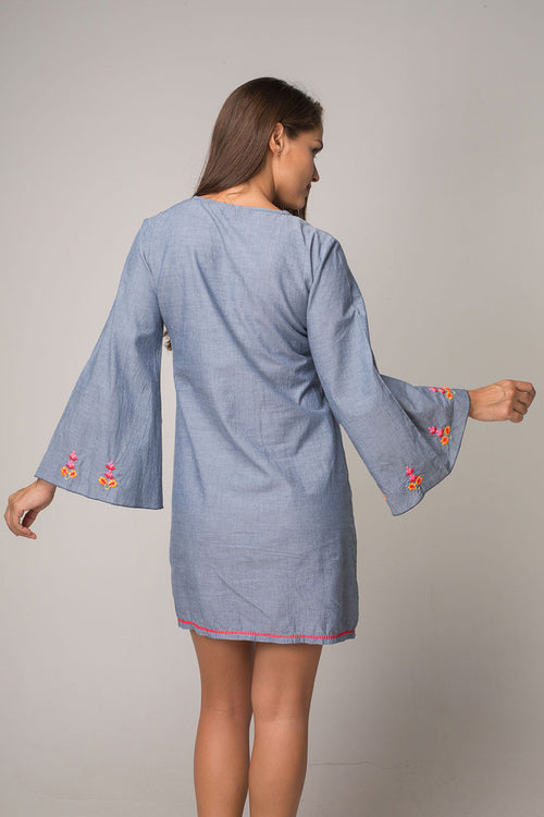 Electric Denim Dress with Hippie Chic Embroidery