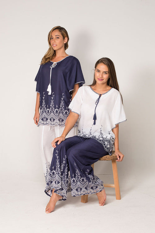 Brusels Blue Top with Intricate Embroidery and Draped Sleeves