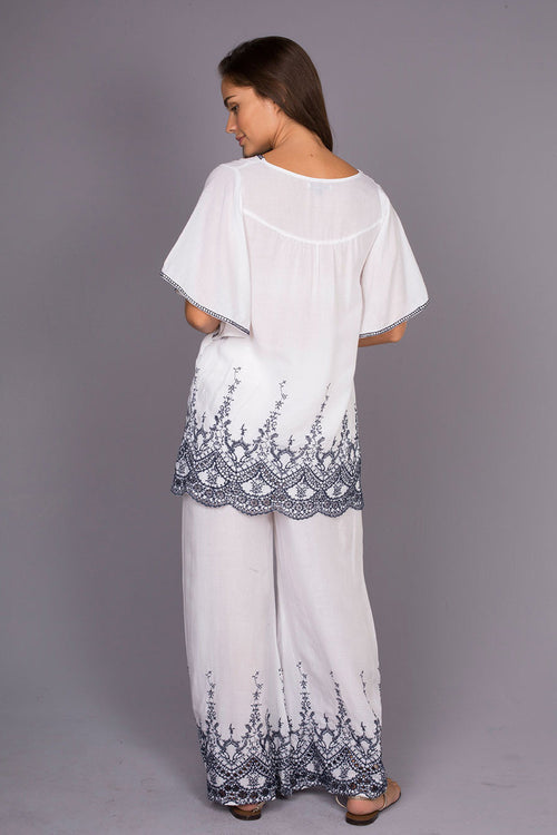 Brusels White Top with Intricate Embroidery and Draped Sleeves