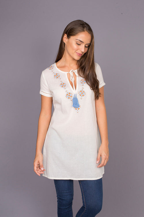 Durban Soft Cotton Tunic with Classic Embroidery