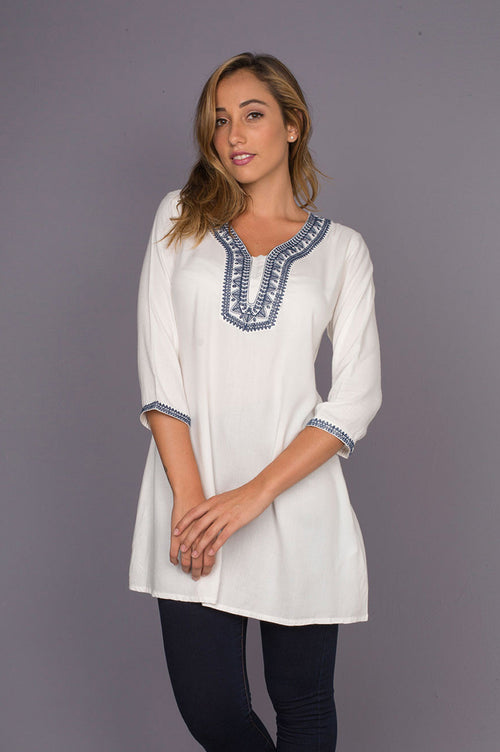 Khetu Soft Tunic with Geometric Embroidery