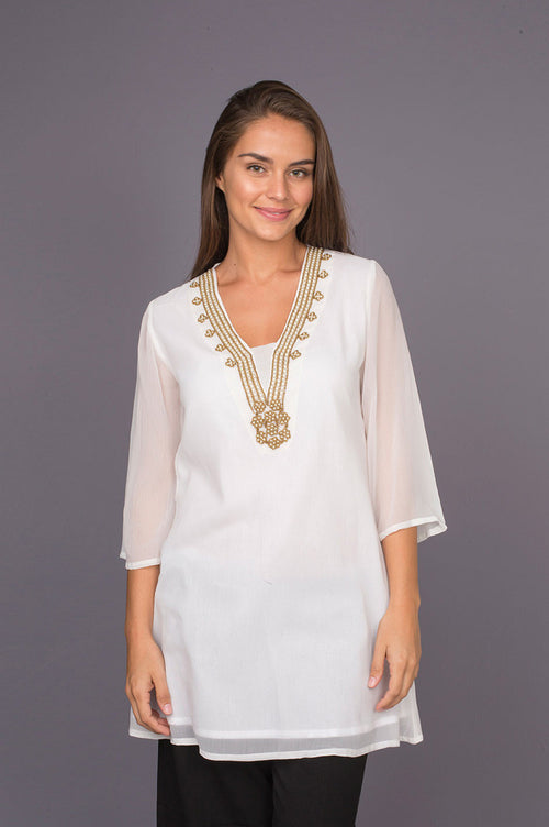 Golden Pearl Delicate Tunic with Pearl Beadwork in Neckline